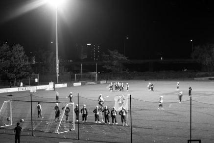 10/31/16 Boston University Men's Lacrosse practices under the lights of Nickerson Field on Halloween night.