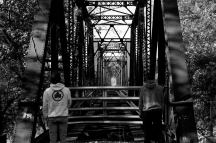11/5/16 Boston University students Henry Hargitai and Alex Ozdamar look down the tunnel created by the old train tracks that cross the Susquehanna River, connecting the towns of Lewisburg and Montandon, Pennsylvania.