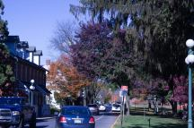 11/5/16 Cars drive down the street on a sunny Saturday in downtown Lewisburg, Pennsylvania.