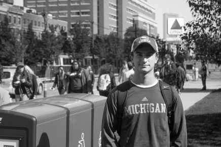 Oct. 4, 2016. BU freshman Marc Sable supports his hometown Michigan Wolverines all the way in Boston.