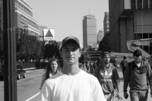 Oct. 4, 2016. Freshman Marc Sable is joined by a few strangers on Comm. Ave. at Boston University.